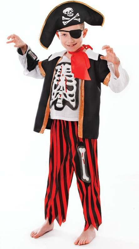 Boys Pirate Skeleton Halloween Outfit - (White, Black, Red)