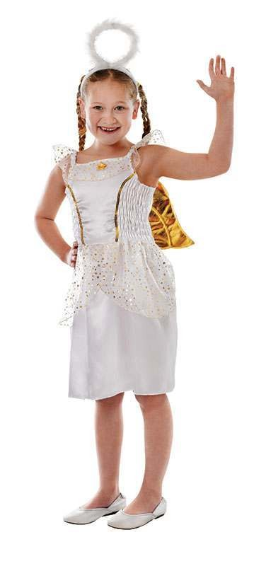 Girls Angel. Gold Heaven/Hell Outfit - (White, Gold)
