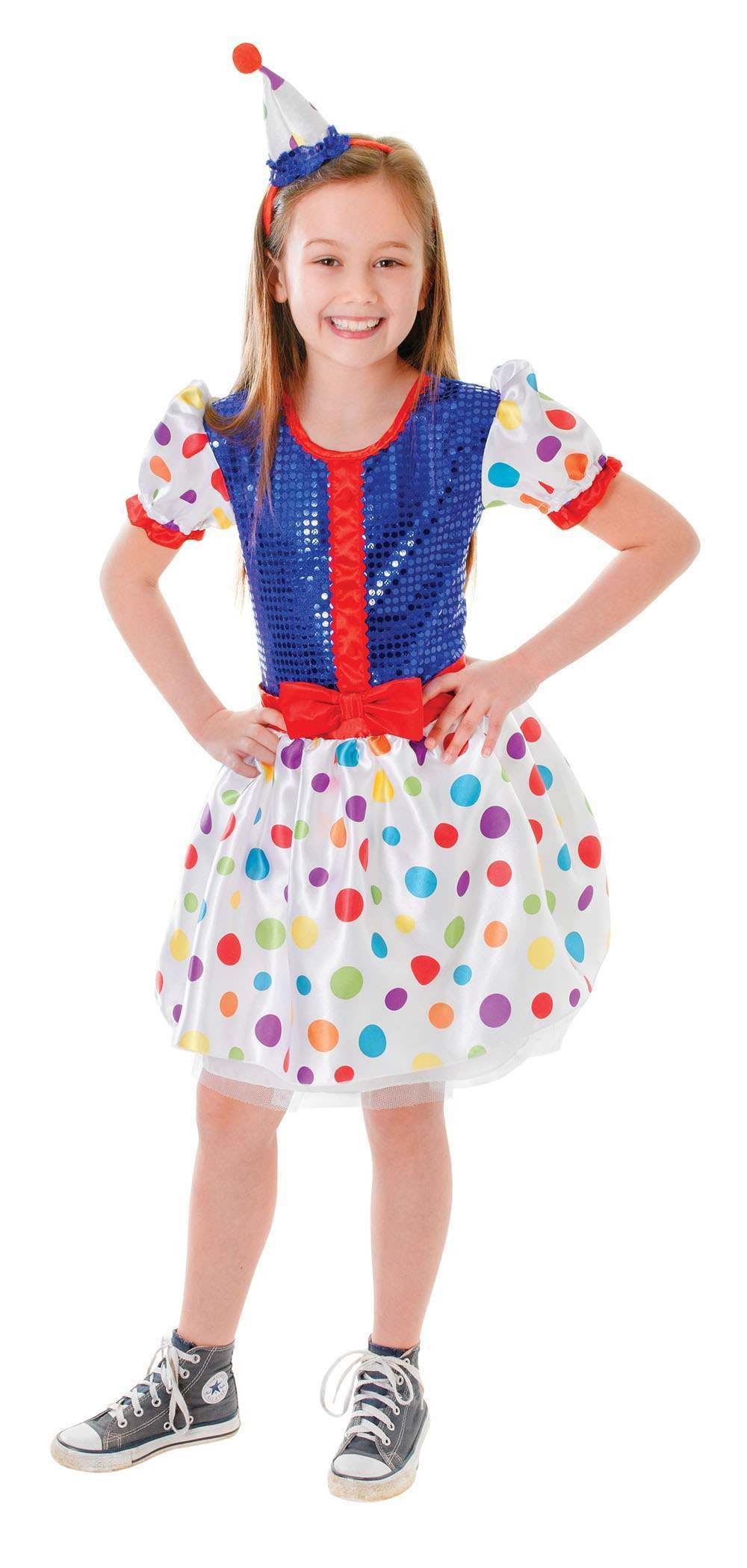 Girls Clown Dress Fancy Dress Costume