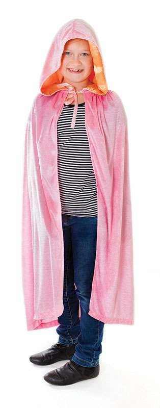 Velvet Pink Hooded Cloak 88Cm Halloween Outfit - One Size