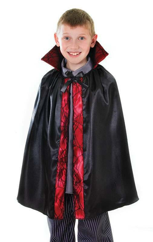 Dracula Cape. Satin 60Cm With Lace Trim Halloween Outfit - One Size