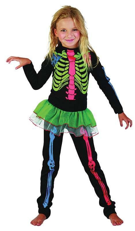 Girls Skeleton Girl. Multi Colour Halloween Outfit - (Multicolour)