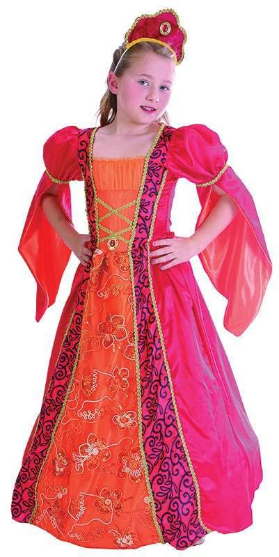 Girls Princess. Deluxe Royal Outfit - (Orange, Pink)