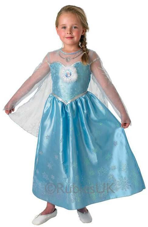 Girls Offical Disney Frozen Elsa Fancy Dress Costume