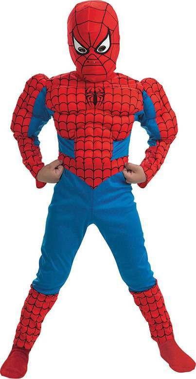 Spiderman Classic Muscle Playsuit Fancy Dress Costume