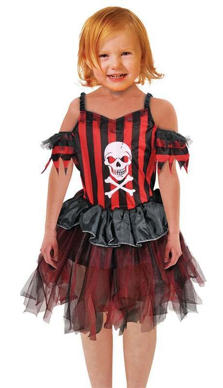 Girls Pirate Dress Pirates Outfit - One Size (Red, Black)