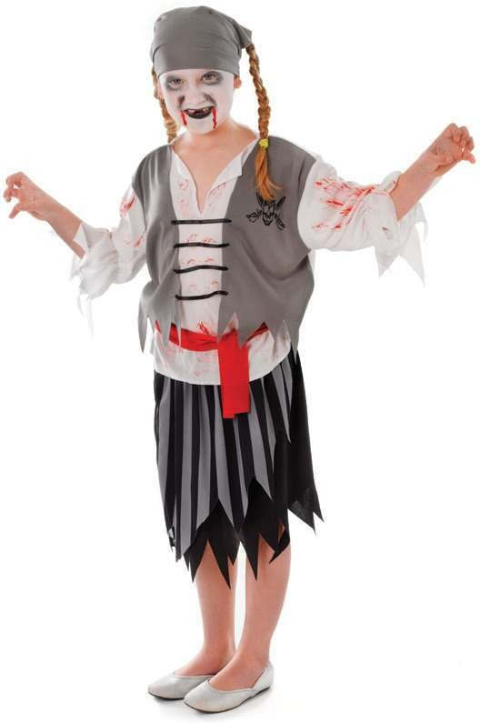 Girls Zombie Pirate Girl Halloween Outfit - (Black, White)