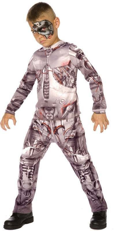 Boys Cyborg 3D. Sci-Fi Outfit - (Silver)