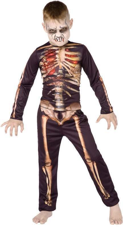 Boys Skeleton 3D. Halloween Outfit - (Black, White)