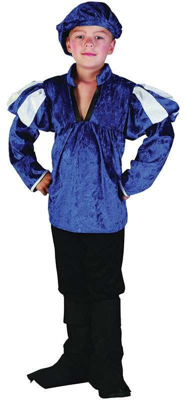 Boys Medieval Prince Fairy Tales Outfit - (Blue, Black)
