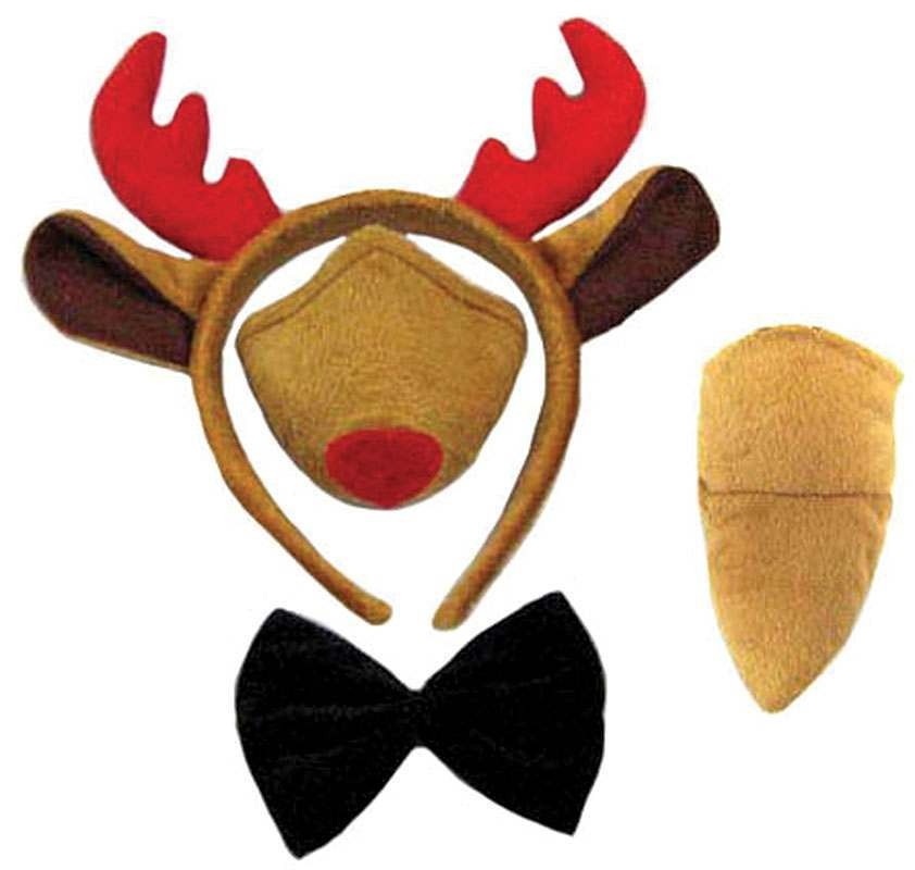 Reindeer Set (Ears, Nose, Tail + Bow Tie) Animal Outfit - One Size