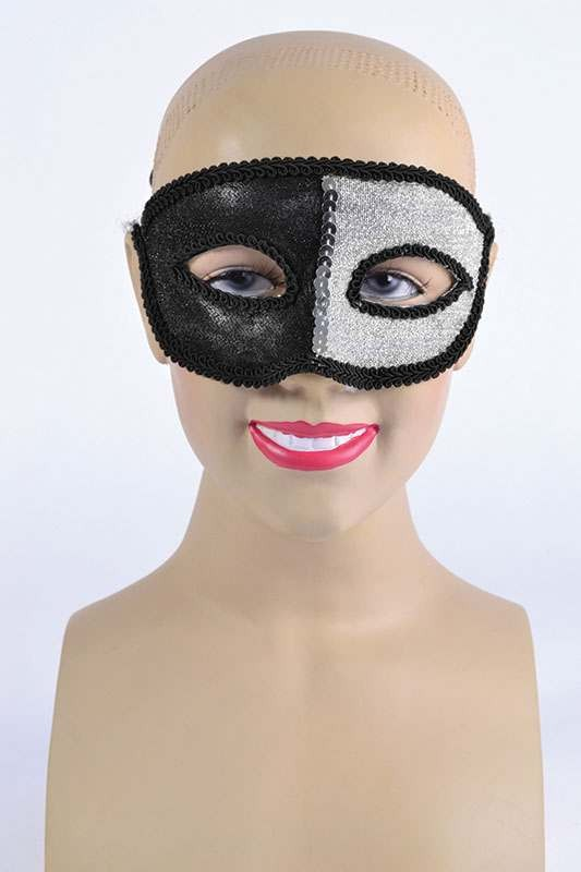 Black/Silver Eyemask + Ribbon Tie Masks