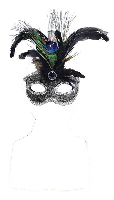 Silver/Black Eye Mask With Tall Feather Masks