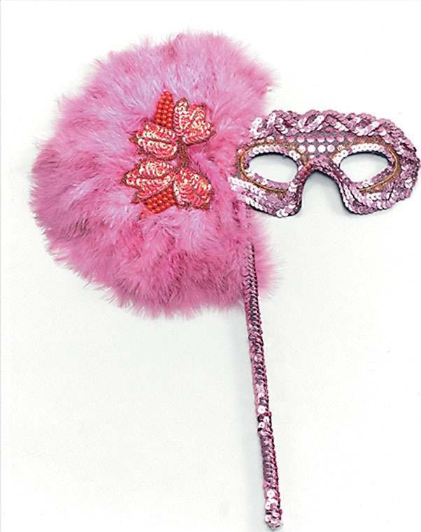 Hot Pink Feather On Stick (Fancy Dress Eyemasks)