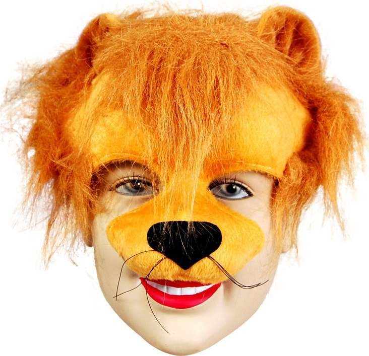 Lion Half Face & Headband (Animals Fancy Dress Masks)