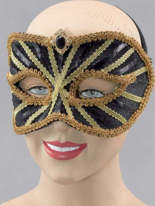 Mask On Headband. Black Gold (Fancy Dress Eyemasks)