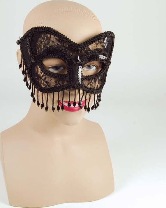 Black Lace Mask With Tassels (Fancy Dress Eyemasks)