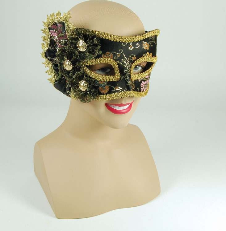 Black Pattern Mask+ Side Decoration (Fancy Dress Eyemasks)
