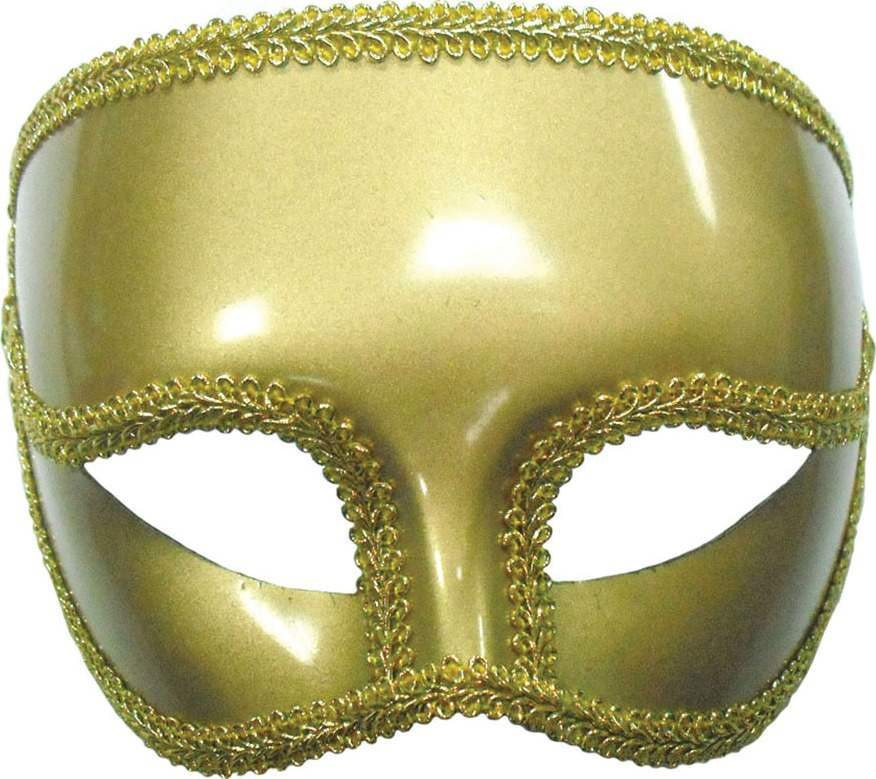 Gents Gold Mask On Headband (Fancy Dress Eyemasks)