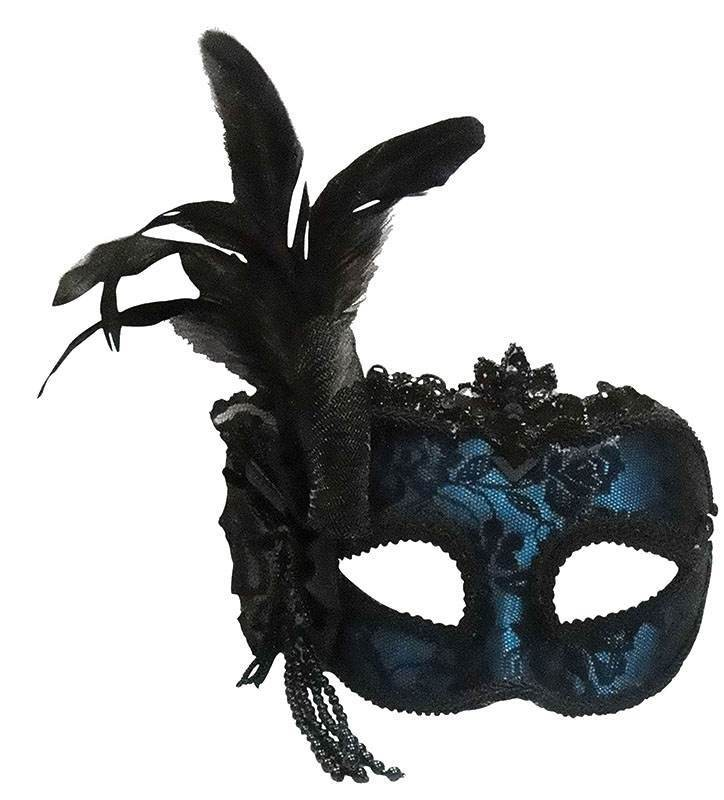 Blue Side Feather Mask On Headband Masks
