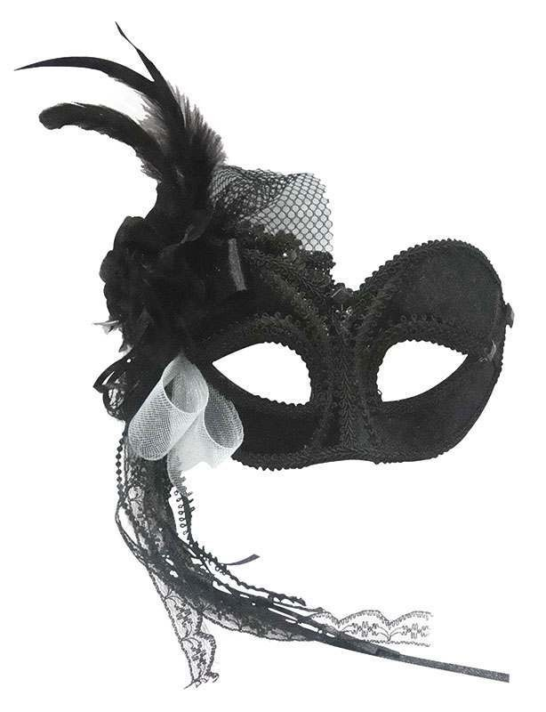 Black Side Feather Mask On Headband Masks