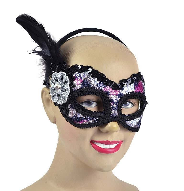 Silver/Purple Sequin Mask Masks