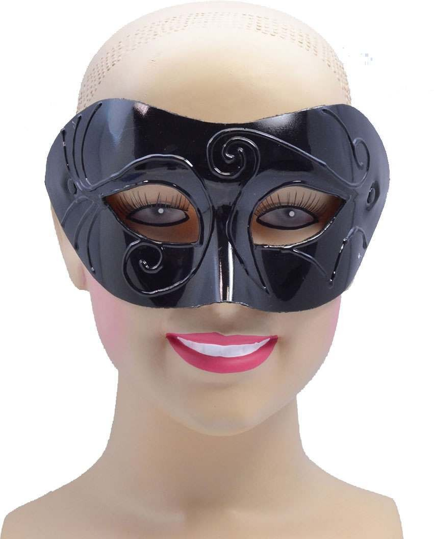 One Size Black Male Eye Mask Fancy Dress Accessory