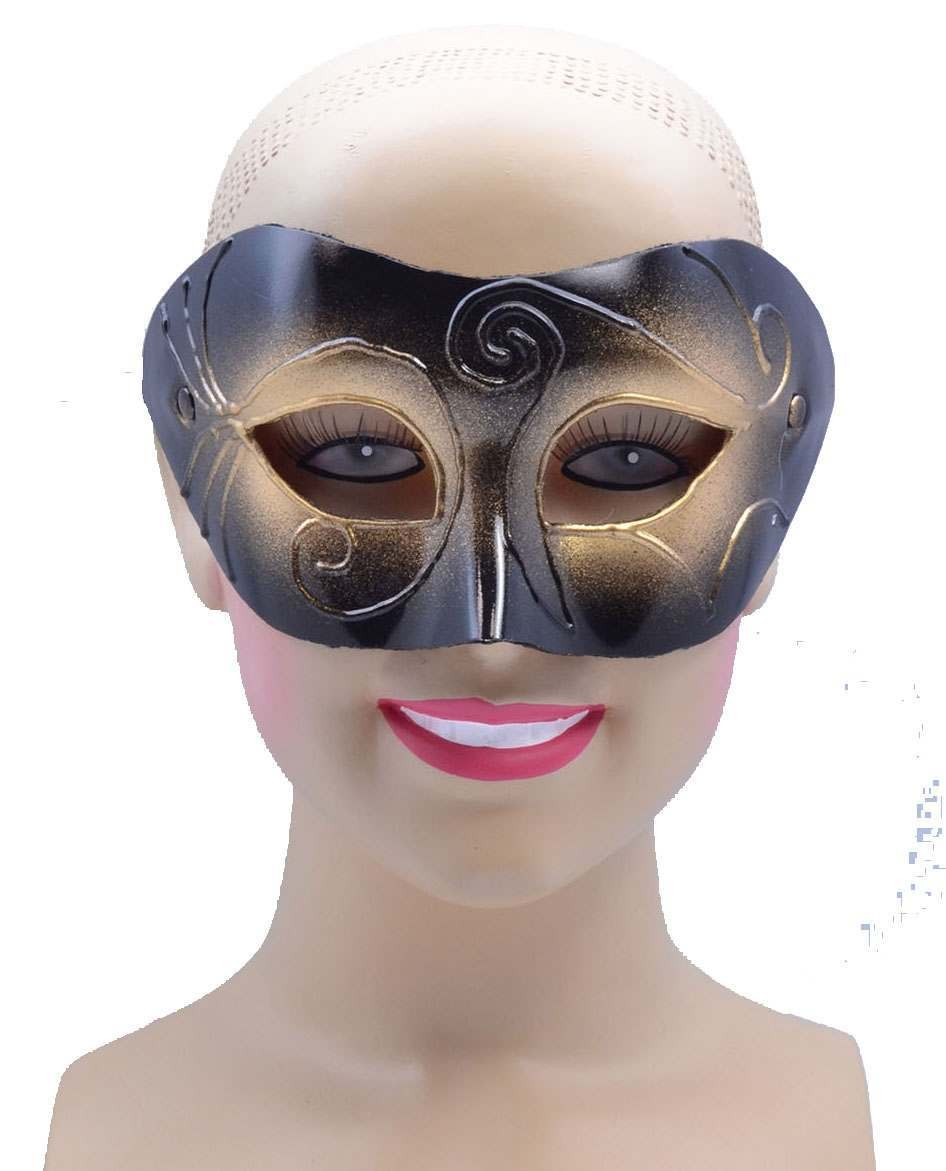 One Size Gold/Black Half Eye Mask Male  Fancy Dress Accessory