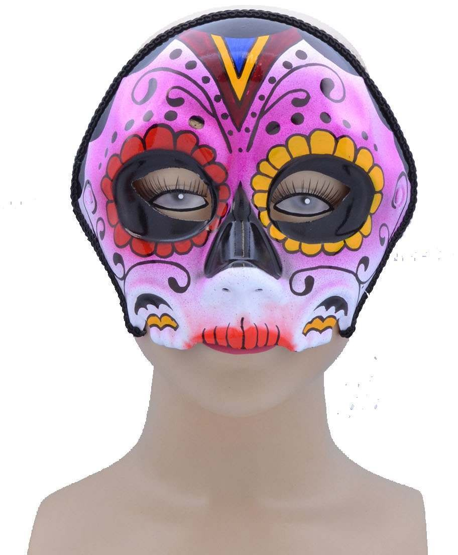 One Size Sugar Skull Style Eye Mask Pink Mix  Fancy Dress Accessory