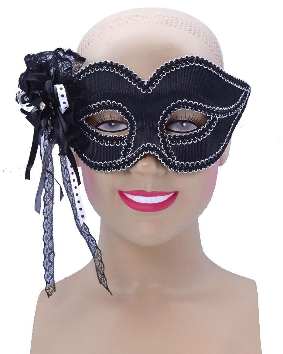 One Size Black W/Side Lace Trim Eye Mask Fancy Dress Accessory
