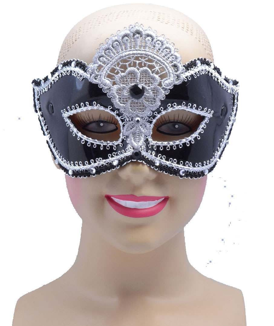 One Size Black Shiny Plastic Decorative Eye Mask  Fancy Dress Accessory