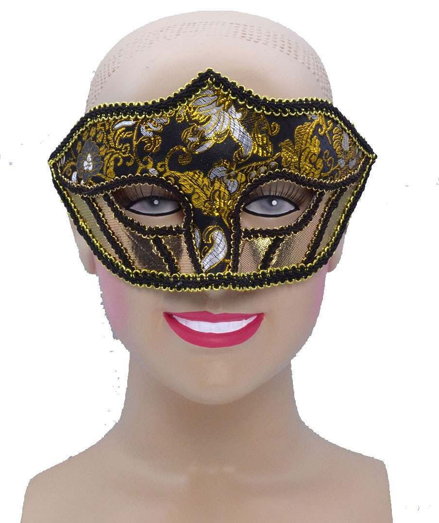 One Size Gold Patterned Material Eye Mask  Fancy Dress Accessory