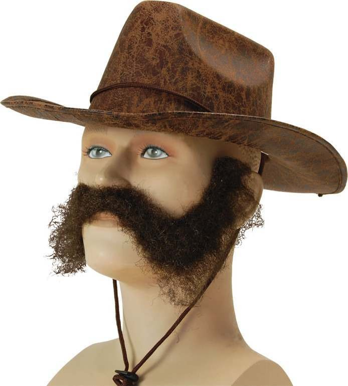 Wild West / General Burnside. Brown (Cowboys/Indians Fancy Dress Facial Hair)