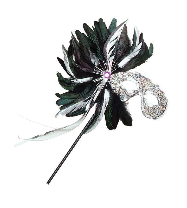 Side Feather Tinsel Silver/Stick (Fancy Dress Eyemasks)