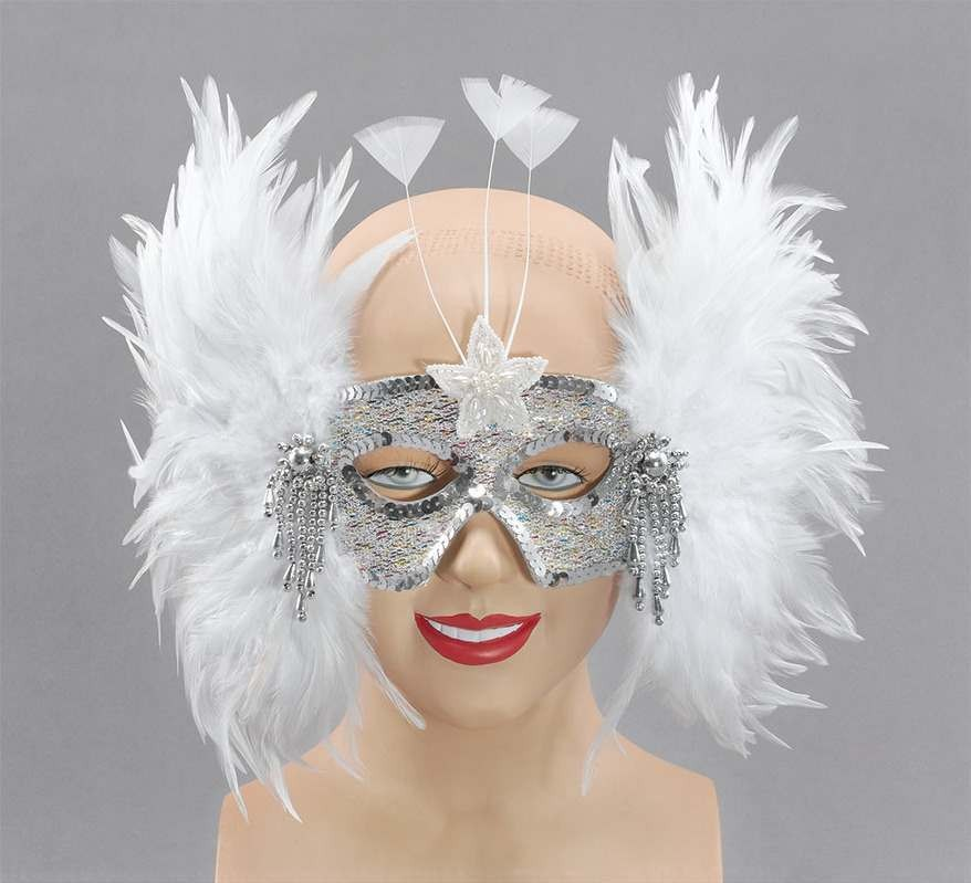 Silver Mask/White Sidefeathers (Fancy Dress Eyemasks)