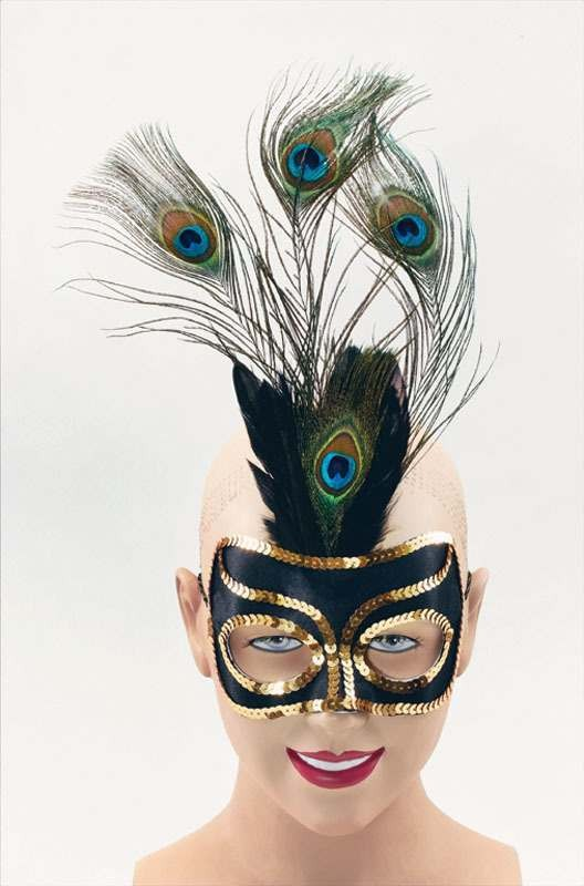 Black Eye Mask & Tall Peacock (Fancy Dress Eyemasks)