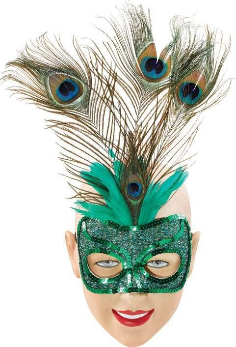 Green Eye Mask & Tall Peacock (Fancy Dress Eyemasks)