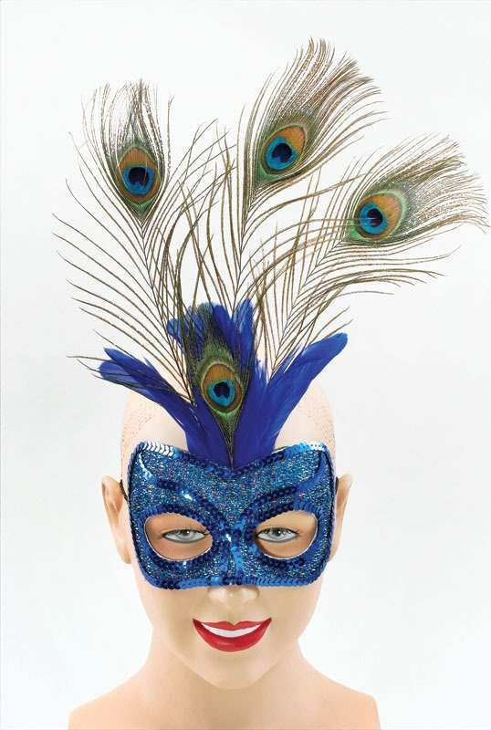 Blue Eye Mask & Tall Peacock (Fancy Dress Eyemasks)