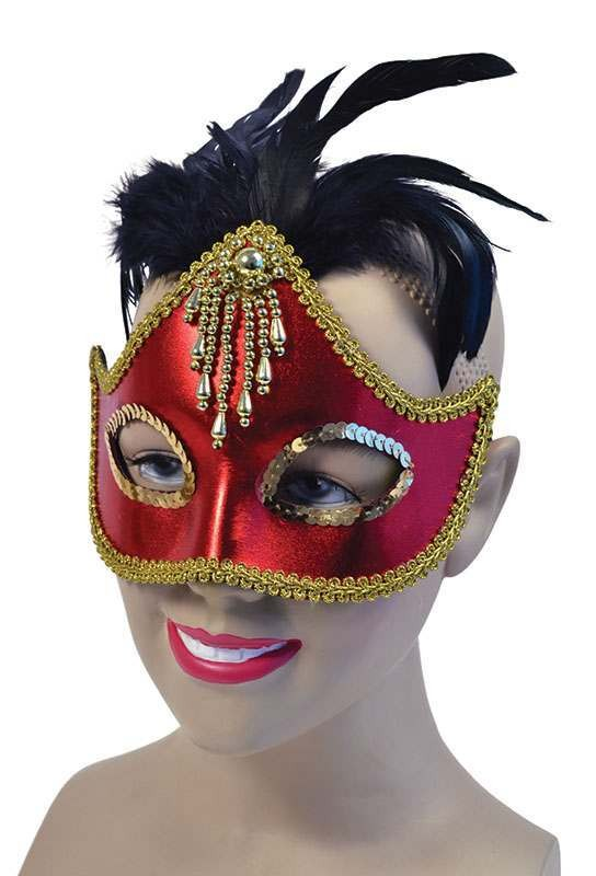 Red Mask + Centre Feathers (Fancy Dress Eyemasks)