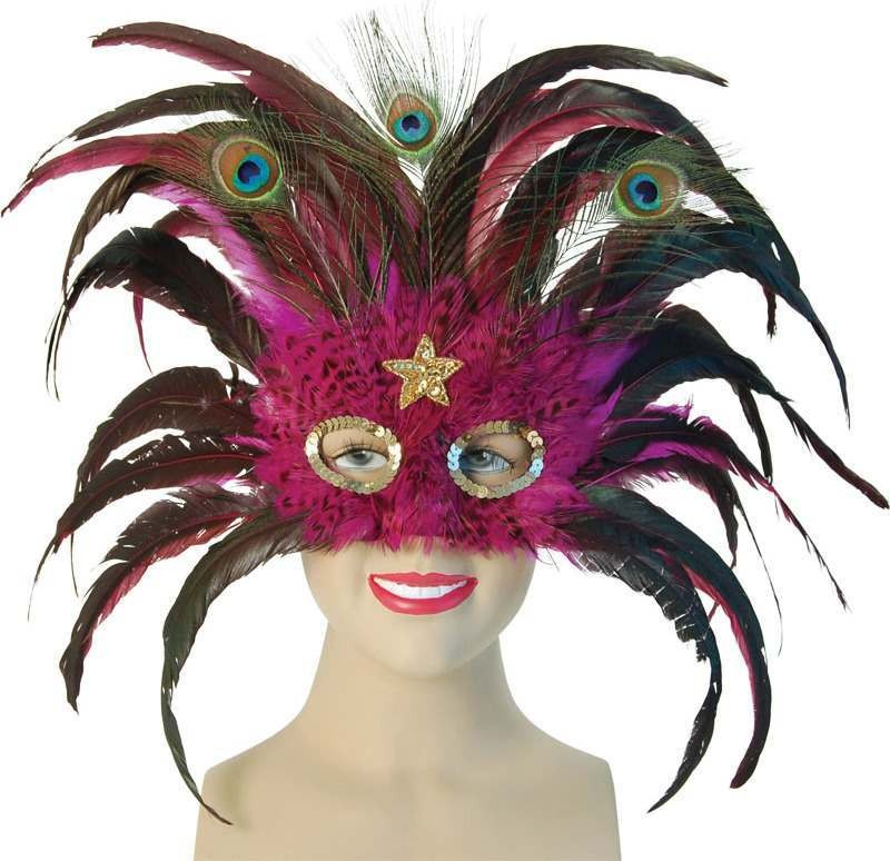 Magenta Peacock / Gold Star (Fancy Dress Eyemasks)