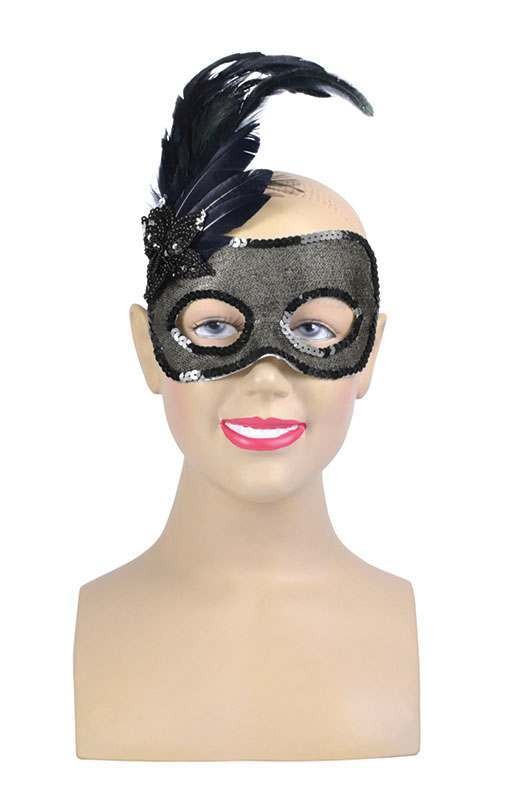 Side Feather / Black Beaded Mask Masks