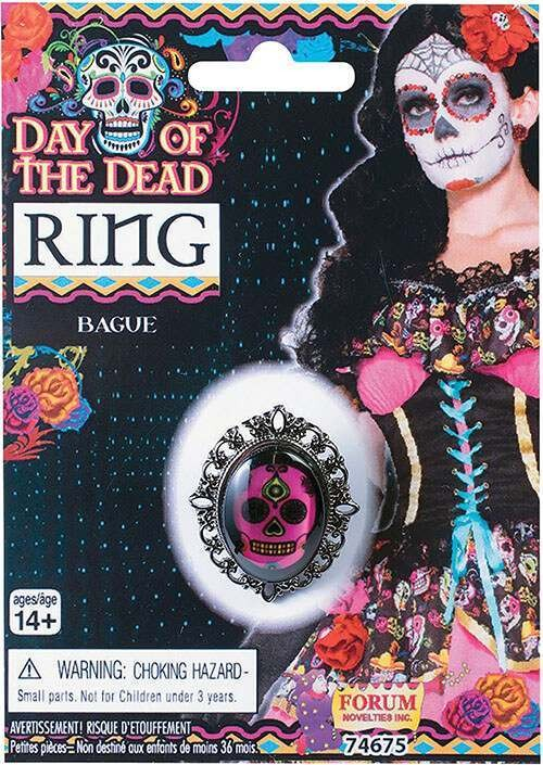 Ladies Day Of The Dead Ring Halloween Fancy Dress Accessory