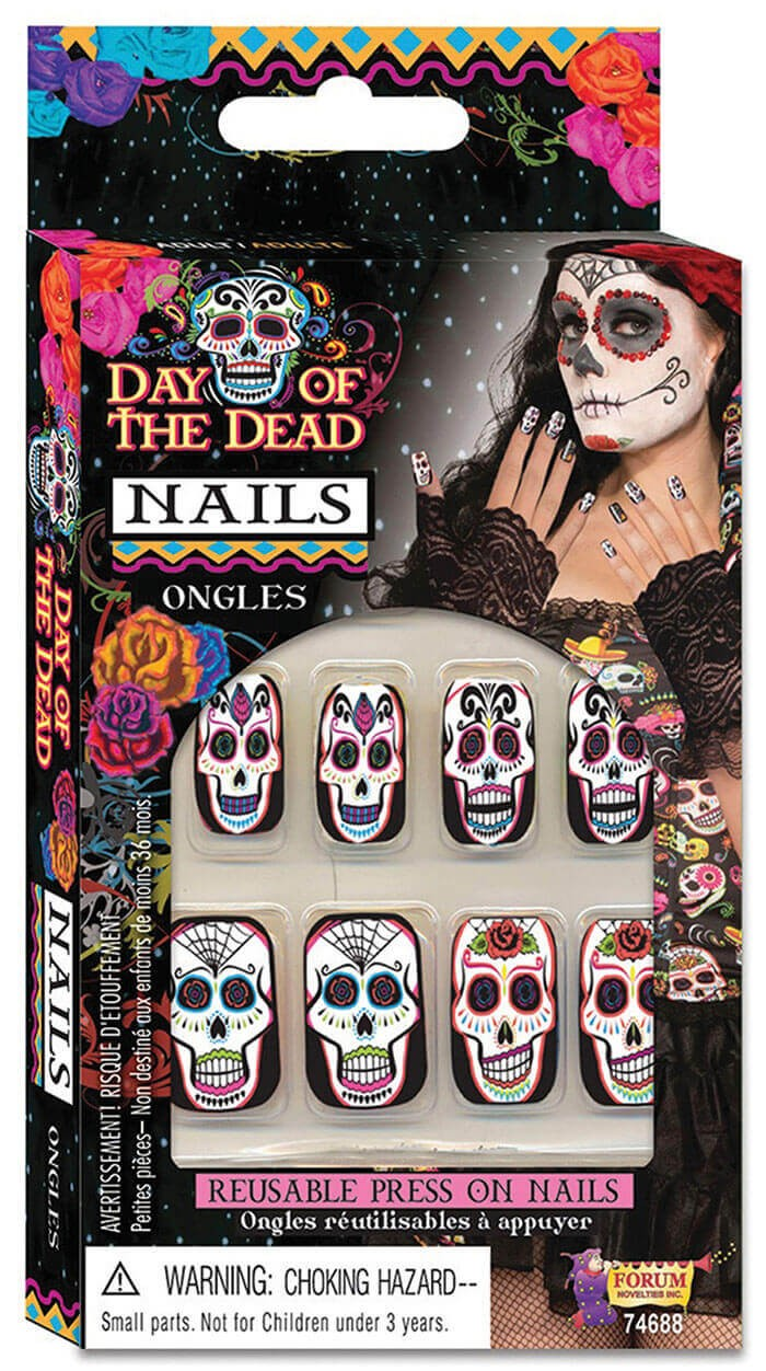 Ladies Day Of The Dead Nails Halloween Fancy Dress Accessory
