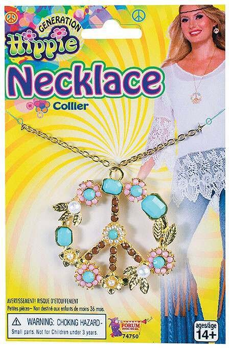 Adults Peace Sign Hippy Necklace Fancy Dress Accessory