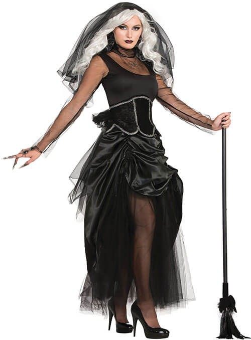 Ladies Black Shadow Ghost/Witch Halloween Fancy Dress Costume