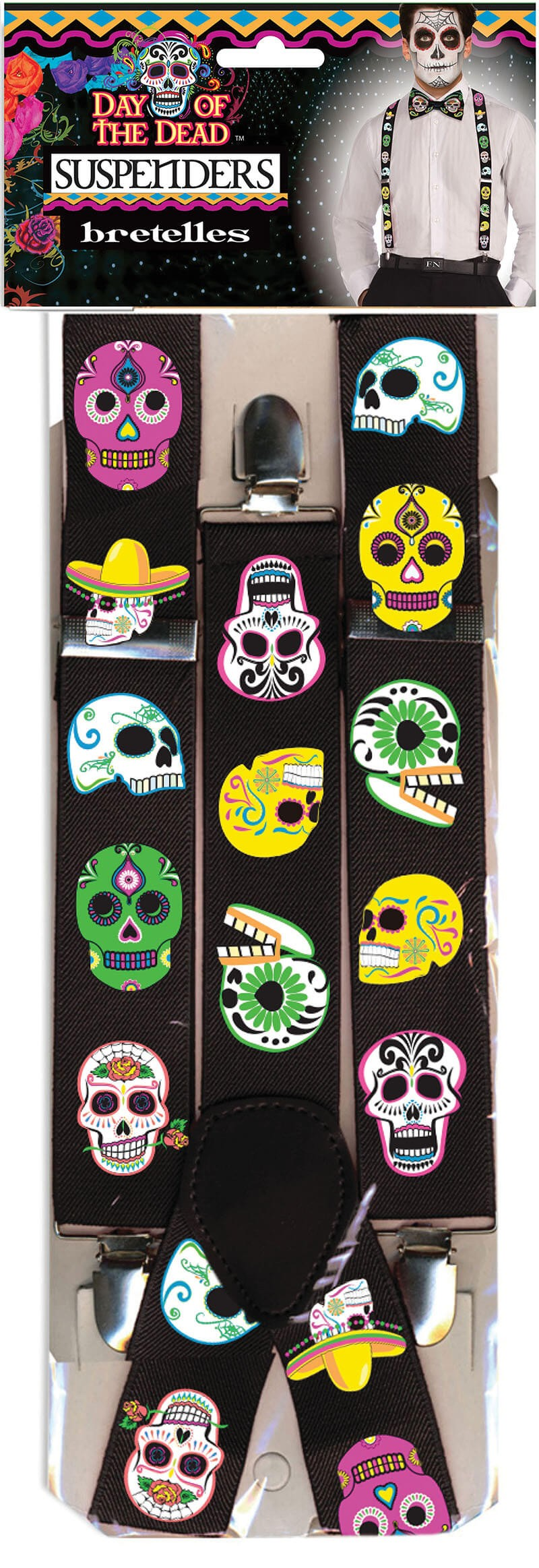 Adults Day Of The Dead Braces Halloween Fancy Dress Accessory
