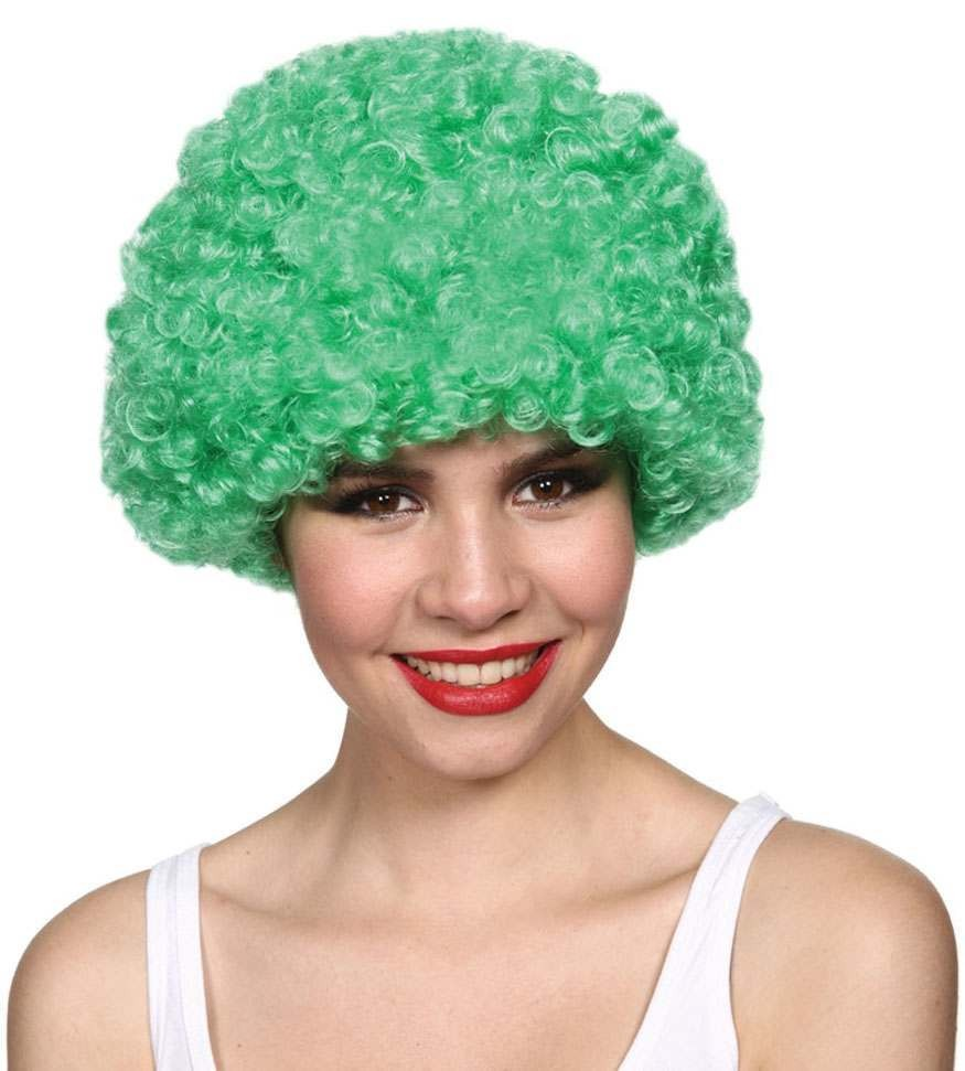 Mens Funky Afro - Green 120Gm Wigs - (Green)