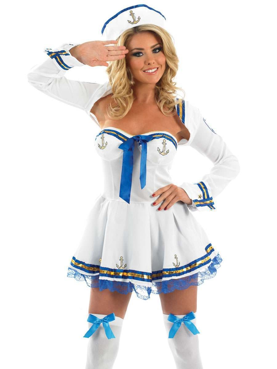 Flirty Sailor Fancy Dress Costume Ladies (Army)