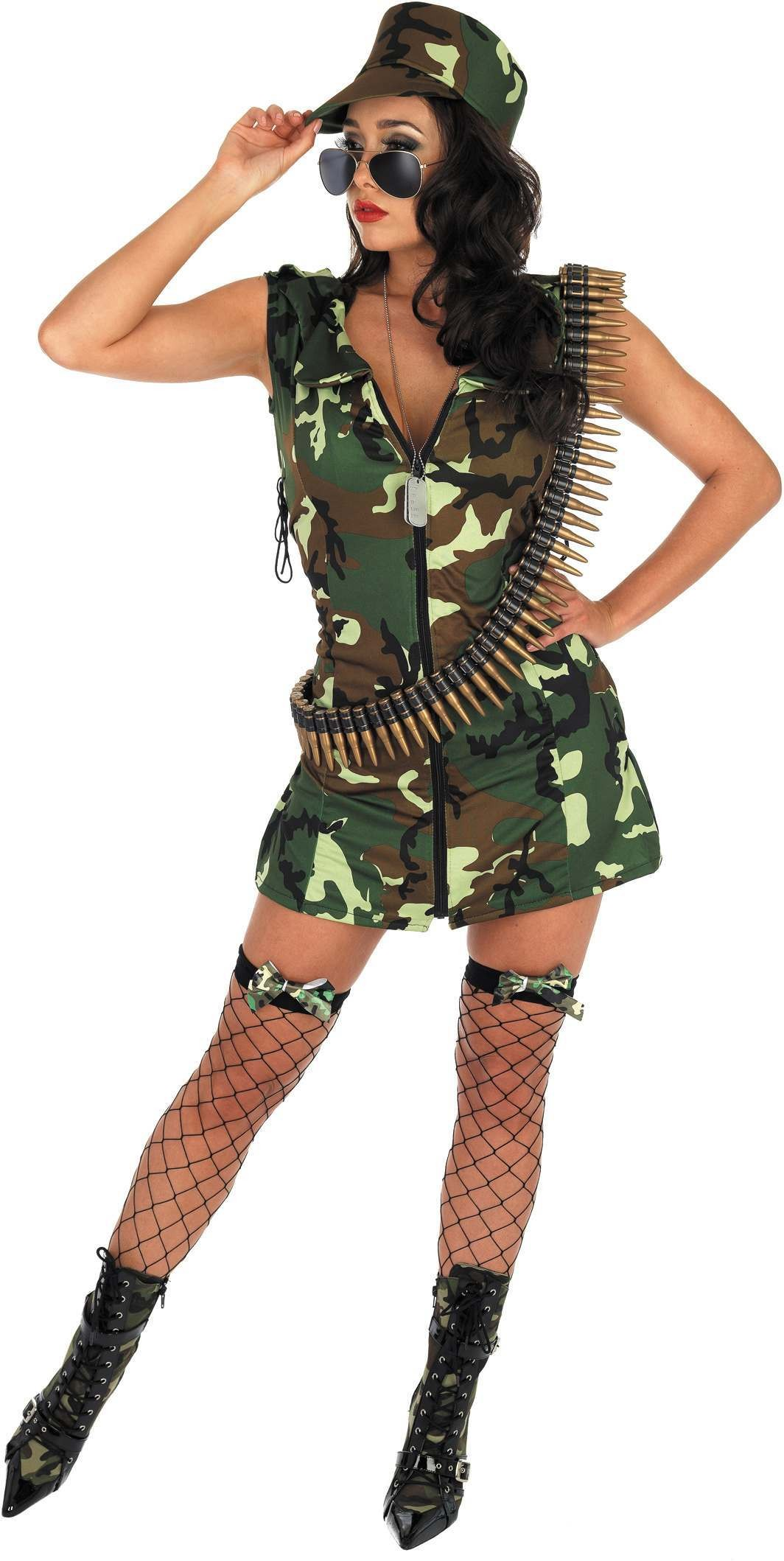 Army Girl Fancy Dress Costume Ladies (Army)