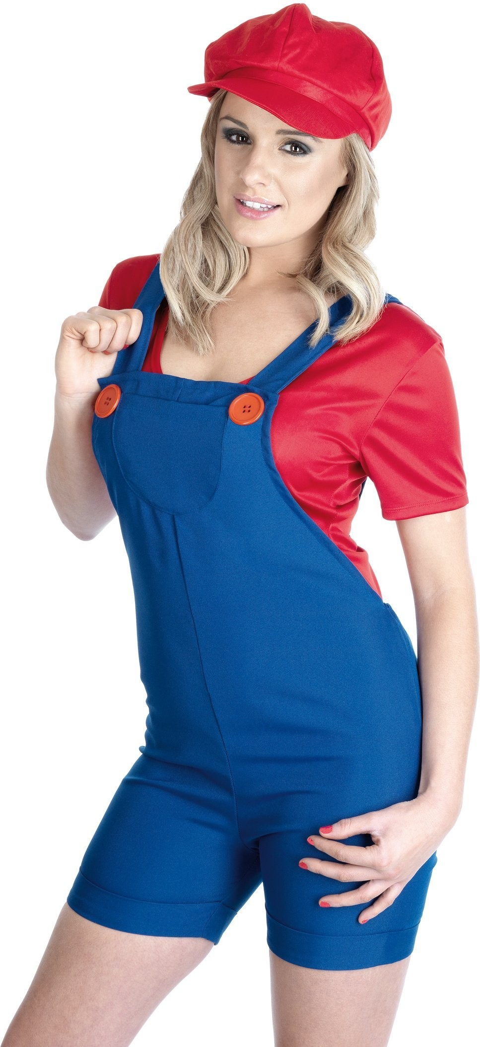 Red Plumbers Mate Girl Videogames Outfit - Size 28-30
